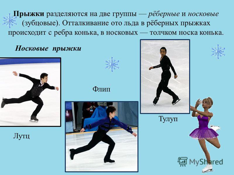 Прыжки разделяются на две группы рёберные и носковые (зубцовые). Отталкивание ото льда в рёберных прыжках происходит с ребра конька, в носковых толчком носка конька. Тулуп Лутц Флип Носковые прыжки