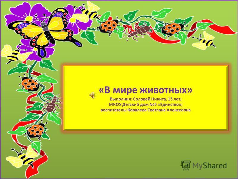 «В мире животных» Выполнил: Соловей Никита, 15 лет; МКОУ Детский дом 5 «Единство»; воспитатель: Ковалева Светлана Алексеевна