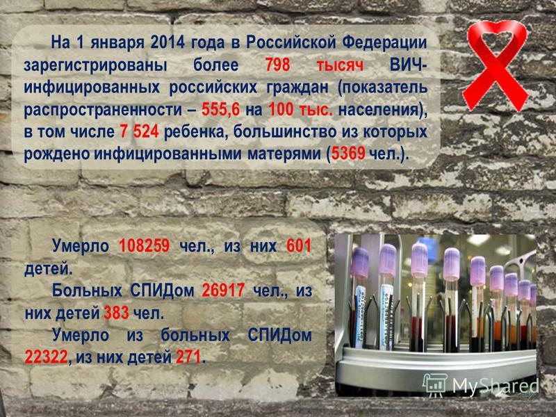 На 1 января 2014 года в Российской Федерации зарегистрированы более 798 тысяч ВИЧ- инфицированных российских граждан (показатель распространенности – 555,6 на 100 тыс. населения), в том числе 7 524 ребенка, большинство из которых рождено инфицированн
