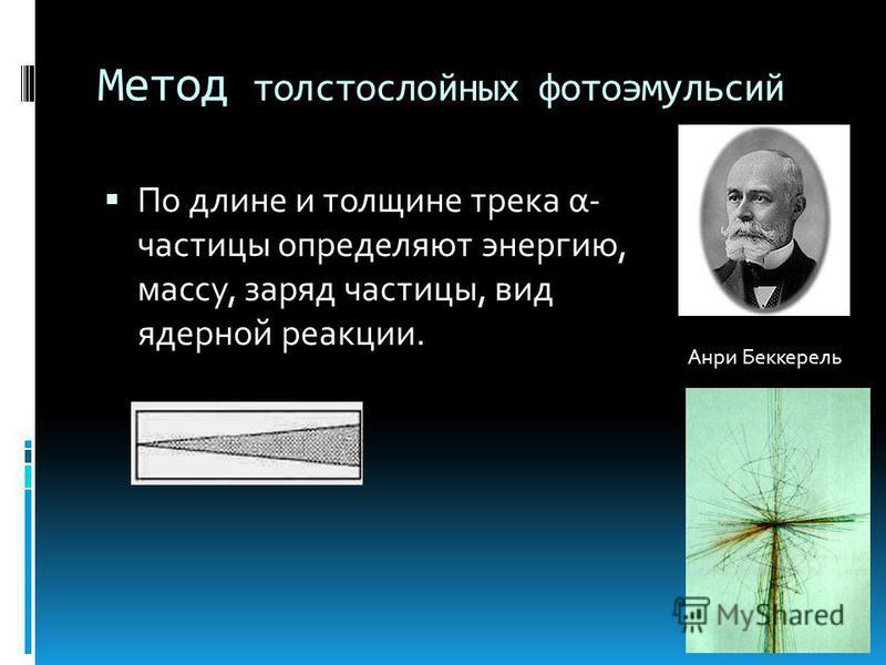 Метод толстослойных фотоэмульсий По длине и толщине трека α- частицы определяют энергию, массу, заряд частицы, вид ядерной реакции. Анри Беккерель
