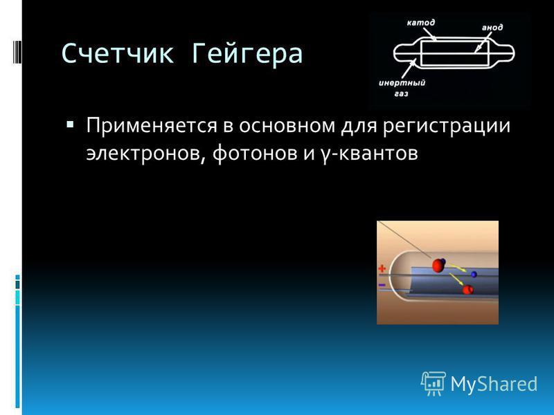 Счетчик Гейгера Применяется в основном для регистрации электронов, фотонов и γ-квантов