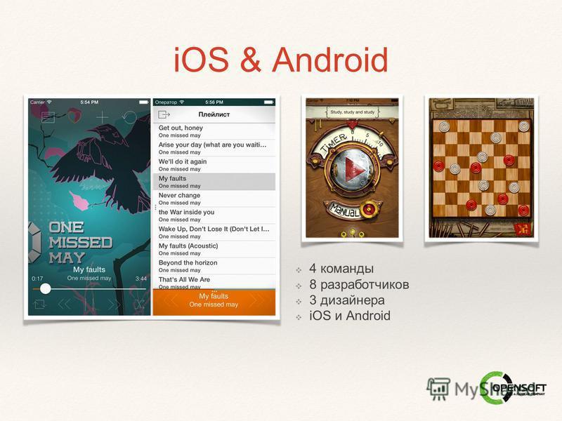 iOS & Android 4 команды 8 разработчиков 3 дизайнера iOS и Android
