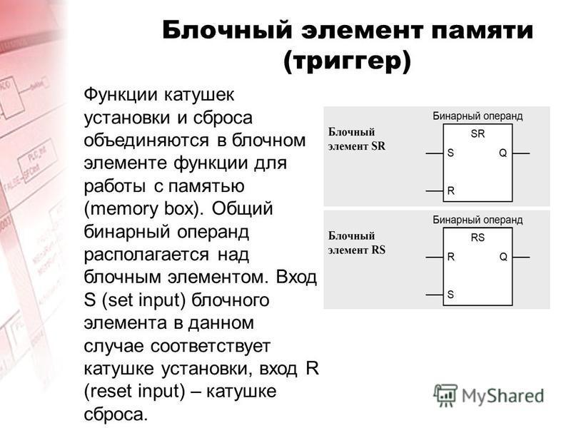Блочный элемент памяти (триггер) Функции катушек установки и сброса объединяются в блочном элементе функции для работы с памятью (memory box). Общий бинарный операнд располагается над блочным элементом. Вход S (set input) блочного элемента в данном с