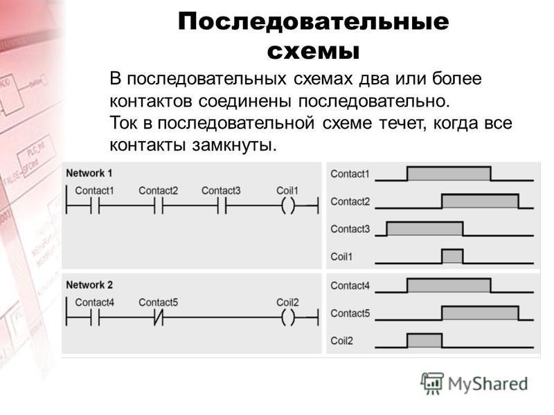 Последовательные схемы В последовательных схемах два или более контактов соединены последовательно. Ток в последовательной схеме течет, когда все контакты замкнуты.