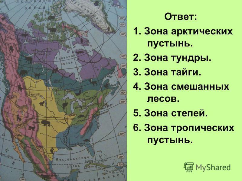 Ответ: 1. Зона арктических пустынь. 2. Зона тундры. 3. Зона тайги. 4. Зона смешанных лесов. 5. Зона степей. 6. Зона тропических пустынь.