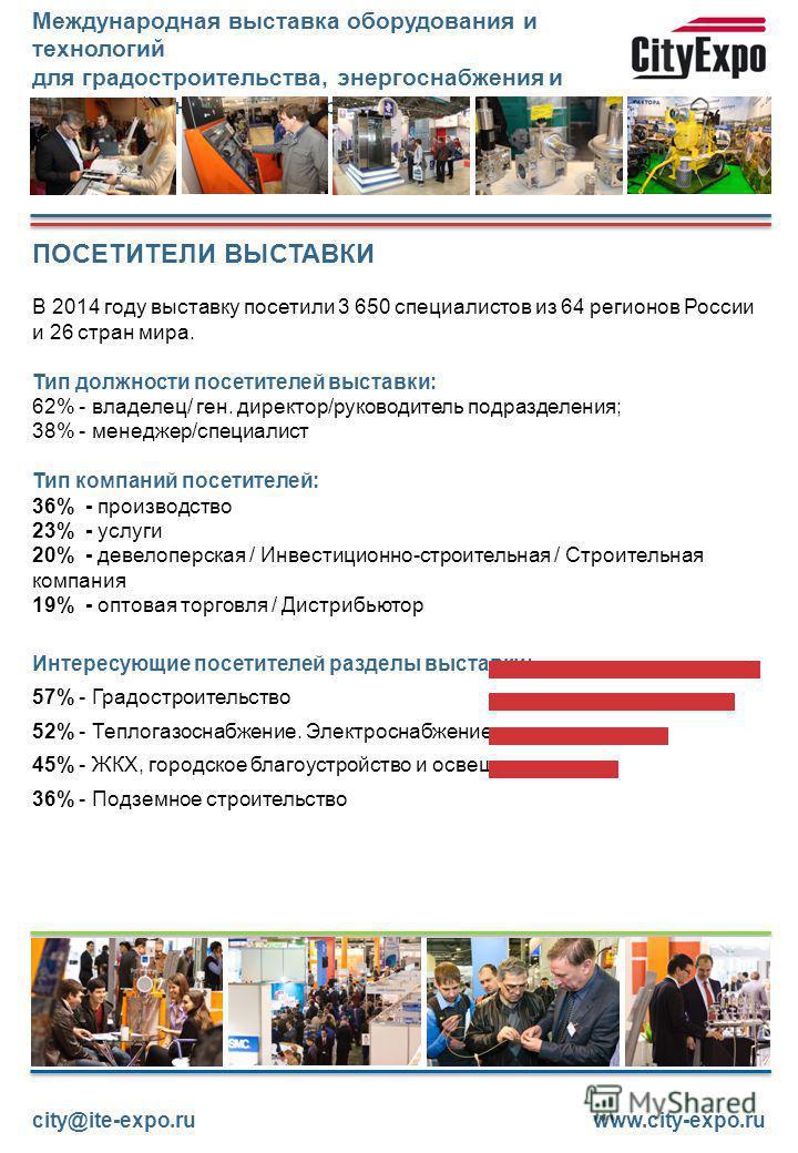 ПОСЕТИТЕЛИ ВЫСТАВКИ В 2014 году выставку посетили 3 650 специалистов из 64 регионов России и 26 стран мира. Тип должности посетителей выставки: 62% - владелец/ ген. директор/руководитель подразделения; 38% - менеджер/специалист Тип компаний посетител