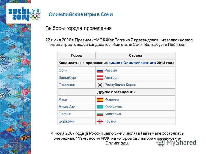 Олимпийские игры в Сочи Выборы города проведения 22 июня 2006 г. Президент МОК Жак Рогге из 7 претендовавших заявок назвал имена трех городов-кандидатов. Ими стали Сочи, Зальцбург и Пхёнчхан. 4 июля 2007 года (в России было уже 5 июля) в Гватемале со