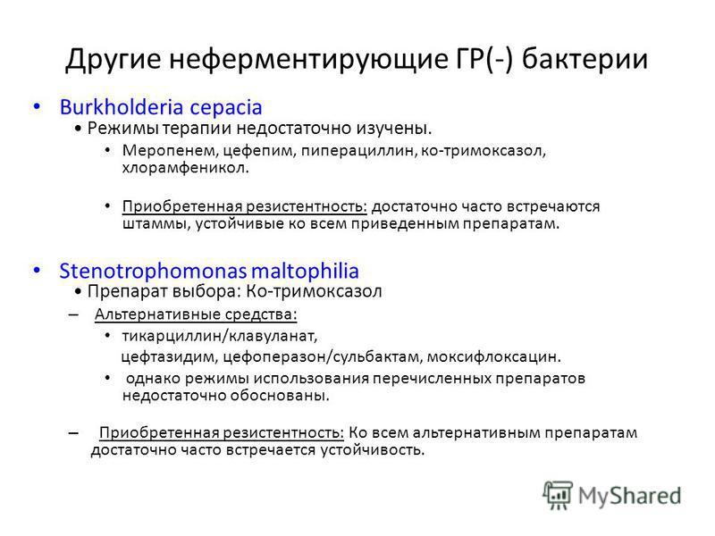 Другие неферментирующие ГР(-) бактерии Burkholderia cepacia Режимы терапии недостаточно изучены. Меропенем, цефепим, пиперациллин, ко-тримоксазол, хлорамфеникол. Приобретенная резистентность: достаточно часто встречаются штаммы, устойчивые ко всем пр