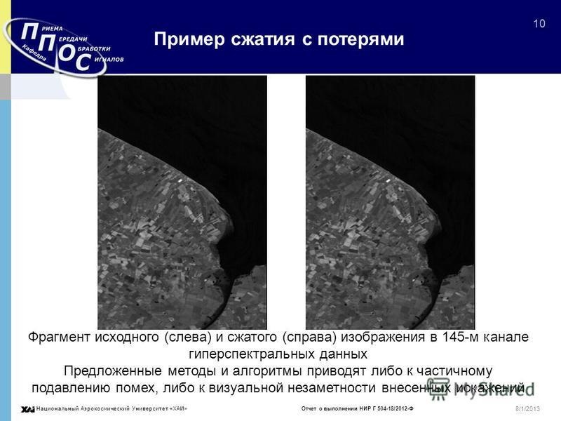 Национальный Аэрокосмический Университет «ХАИ» Отчет о выполнении НИР Г 504-18/2012-Ф 10 8/1/2013 Пример сжатия с потерями Фрагмент исходного (слева) и сжатого (справа) изображения в 145-м канале гиперспектральных данных Предложенные методы и алгорит