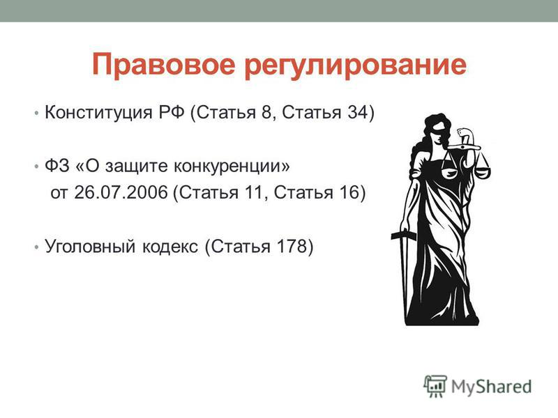 Правовое регулирование Конституция РФ (Статья 8, Статья 34) ФЗ «О защите конкуренции» от 26.07.2006 (Статья 11, Статья 16) Уголовный кодекс (Статья 178)
