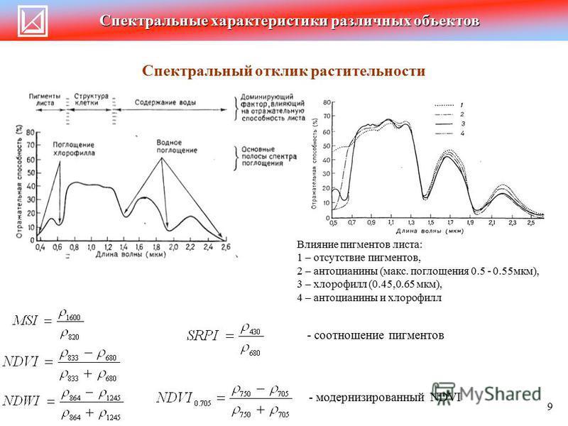 Спектральные характеристики различных объектов Спектральный отклик растительности Влияние пигментов листа: 1 – отсутствие пигментов, 2 – антоцианины (макс. поглощения 0.5 - 0.55 мкм), 3 – хлорофилл (0.45,0.65 мкм), 4 – антоцианины и хлорофилл - соотн