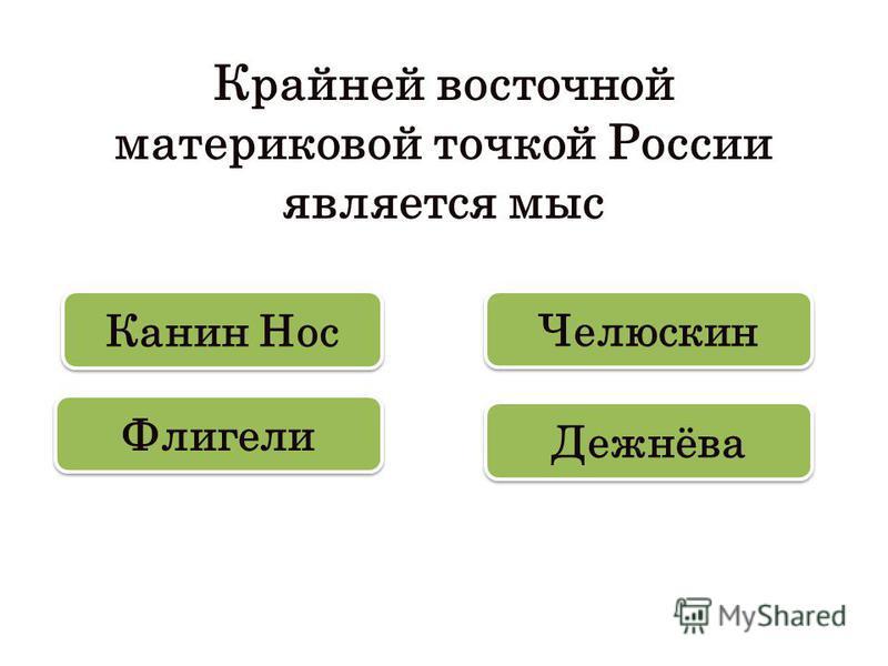 Крайней восточной материковой точкой России является мыс Дежнёва Канин Нос Флигели Челюскин