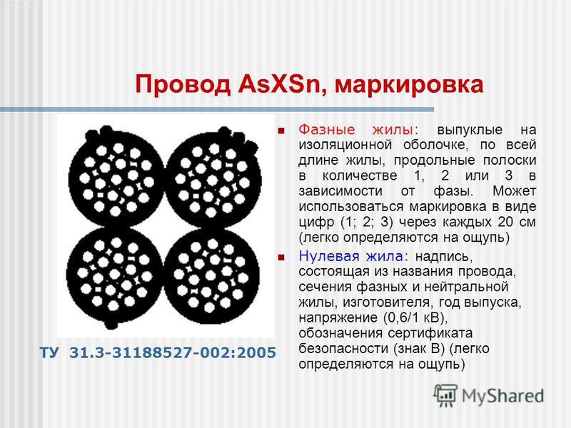 Фазные жилы: выпуклые на изоляционной оболочке, по всей длине жилы, продольные полоски в количестве 1, 2 или 3 в зависимости от фазы. Может использоваться маркировка в виде цифр (1; 2; 3) через каждых 20 см (легко определяются на ощупь) Нулевая жила: