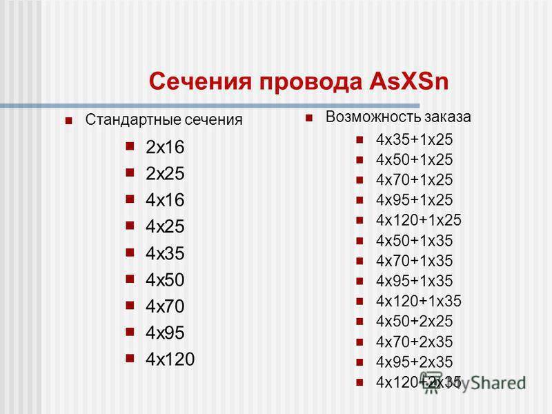 Сечения провода AsXSn 2 х 16 2 х 25 4 х 16 4 х 25 4 х 35 4 х 50 4 х 70 4 х 95 4 х 120 4 х 35+1 х 25 4 х 50+1 х 25 4 х 70+1 х 25 4 х 95+1 х 25 4 х 120+1 х 25 4 х 50+1 х 35 4 х 70+1 х 35 4 х 95+1 х 35 4 х 120+1 х 35 4 х 50+2 х 25 4 х 70+2 х 35 4 х 95+2