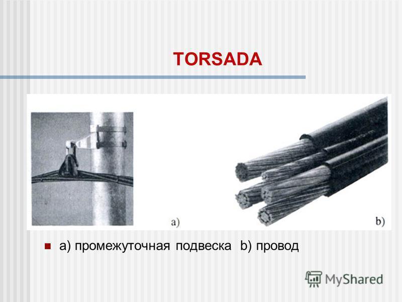 TORSADA а) промежуточная подвеска b) провод