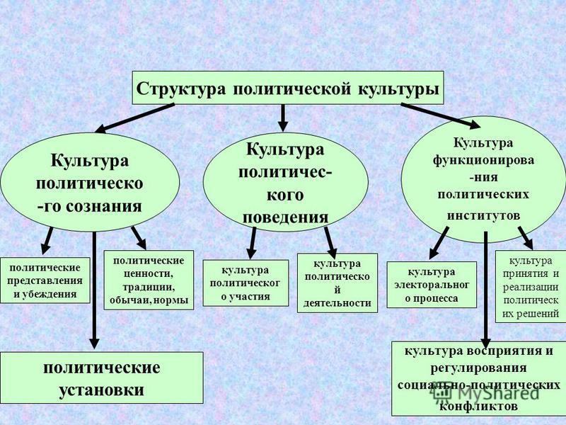 5 Структурные элементы политической культуры: культура политического сознания (политические представления и убеждения; политические ценности, традиции, обычаи, нормы, установки); культура политического поведения (культура политического участия, культ