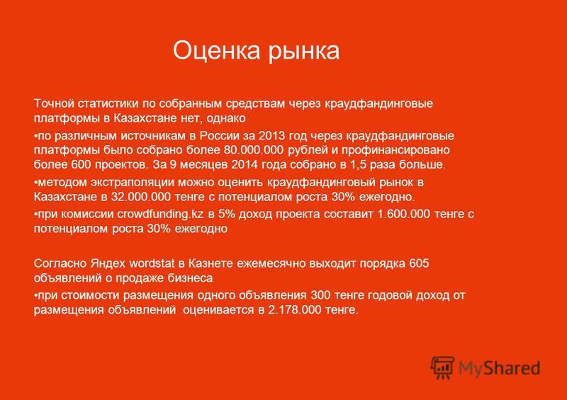 Оценка рынка Точной статистики по собранным средствам через краудфандинговые платформы в Казахстане нет, однако по различным источникам в России за 2013 год через краудфандинговые платформы было собрано более 80.000.000 рублей и профинансировано боле