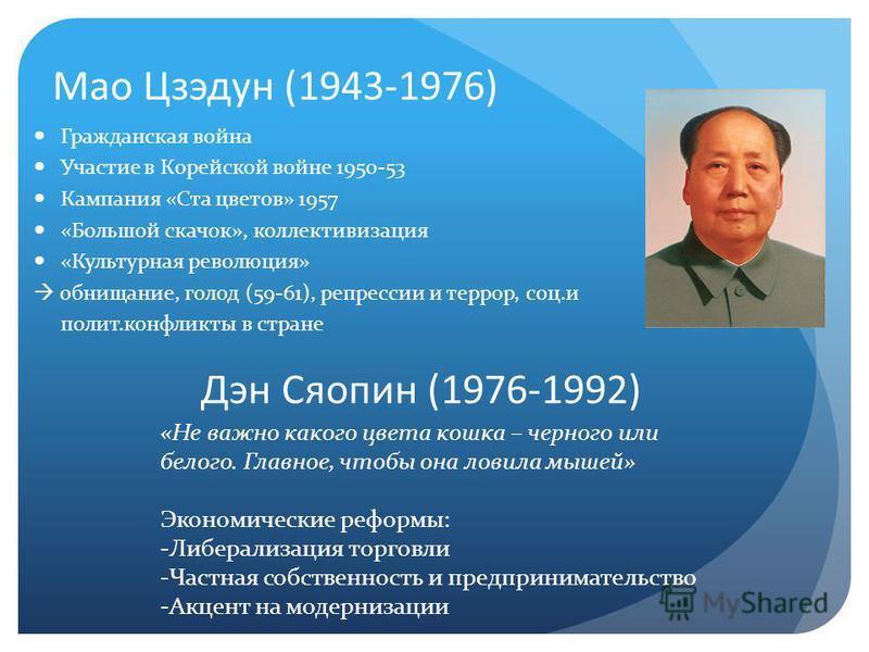 Мао Цзэдун (1943-1976) Гражданская война Участие в Корейской войне 1950-53 Кампания «Ста цветов» 1957 «Большой скачок», коллективизация «Культурная революция» обнищание, голод (59-61), репрессии и террор, соц.и полит.конфликты в стране Дэн Сяопин (19