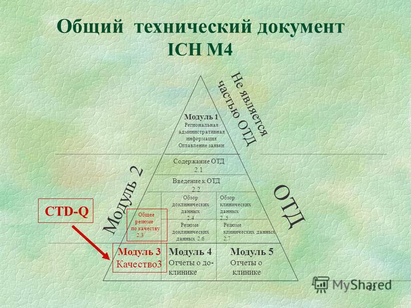 12 Общий технический документ ICH М4 Модуль 1 Региональная административная информация Оглавление заявки Не является частью ОТД ОТД Модуль 2 Модуль 3 Качество 3 Модуль 4 Отчеты о до- клинике Содержание ОТД 2.1 Введение к ОТД 2.2 Общее резюме по качес