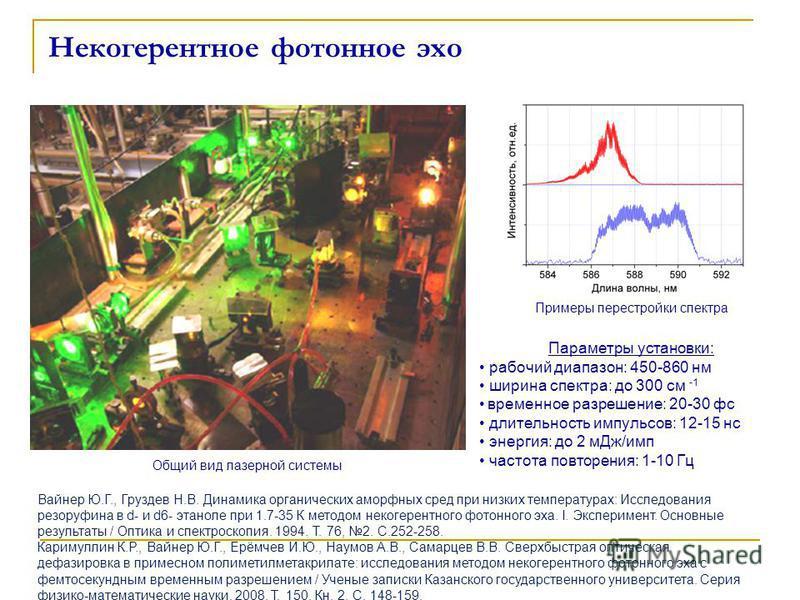 Некогерентное фотонное эхо Общий вид лазерной системы Вайнер Ю.Г., Груздев Н.В. Динамика органических аморфных сред при низких температурах: Исследования резоруфина в d- и d6- этаноле при 1.7-35 К методом некогерентного фотонного эха. I. Эксперимен