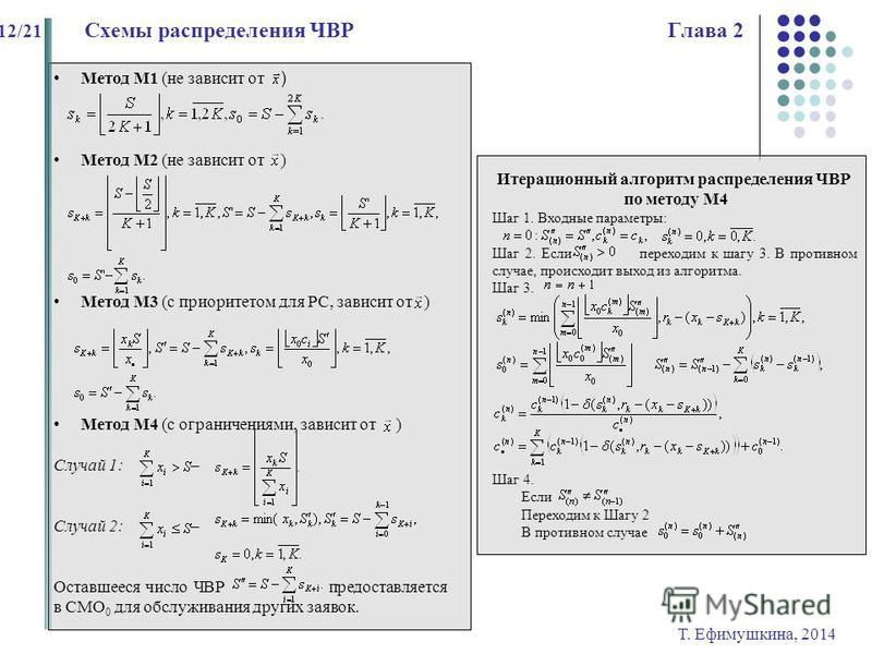 Метод М1 (не зависит от ) Метод М2 (не зависит от ) Метод М3 (с приоритетом для РС, зависит от ) Метод М4 (с ограничениями, зависит от ) Случай 1: – Случай 2: – Оставшееся число ЧВР предоставляется в СМО 0 для обслуживания других заявок. Т. Ефимушкин