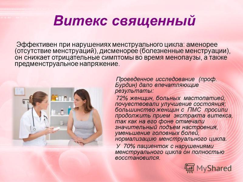 Витекс священный Проведенное исследование (проф. Бурдин) дало впечатляющие результаты: 72% женщин, больных мастопатией, почувствовали улучшение состояния; большинство женщин с ПМС просили продолжить прием экстракта витекса, так как на его фоне отмеча