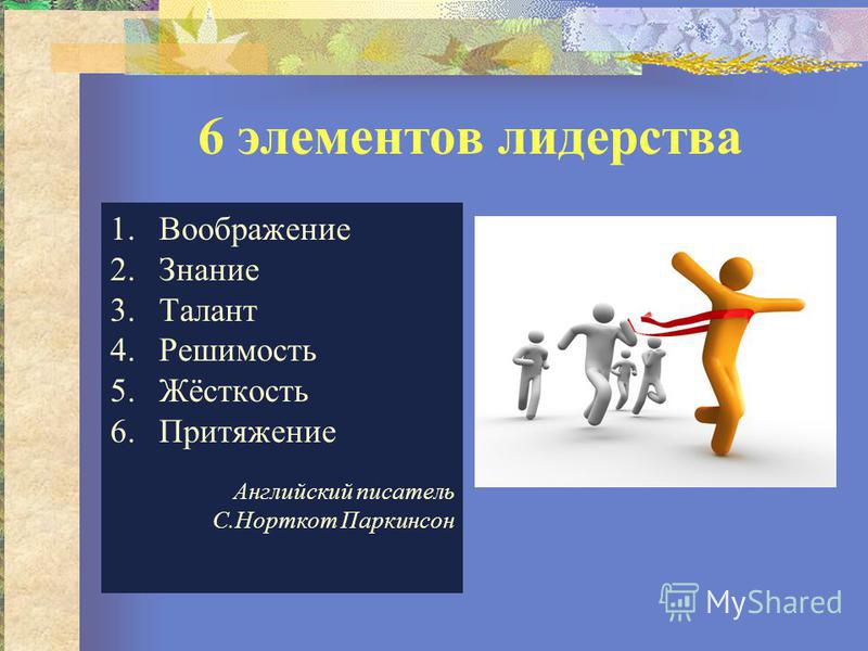 6 элементов лидерства 1. Воображение 2. Знание 3. Талант 4. Решимость 5.Жёсткость 6. Притяжение Английский писатель С.Норткот Паркинсон