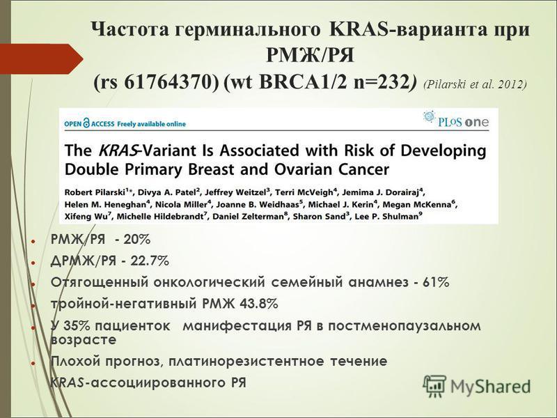 Частота терминального KRAS-варианта при РМЖ/РЯ (rs 61764370) (wt BRCA1/2 n=232) (Pilarski et al. 2012) РМЖ/РЯ - 20% ДРМЖ/РЯ - 22.7% Отягощенный онкологический семейный анамнез - 61% тройной-негативный РМЖ 43.8% У 35% пациенток манифестация РЯ в постм