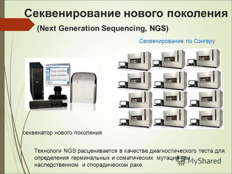 NGS Секвенирование нового поколения (Next Generation Sequencing, NGS) секвенатор нового поколения Секвенирование по Сэнгеру Технологи NGS расценивается в качестве диагностического теста для определения терминальных и соматических мутаций при наследст