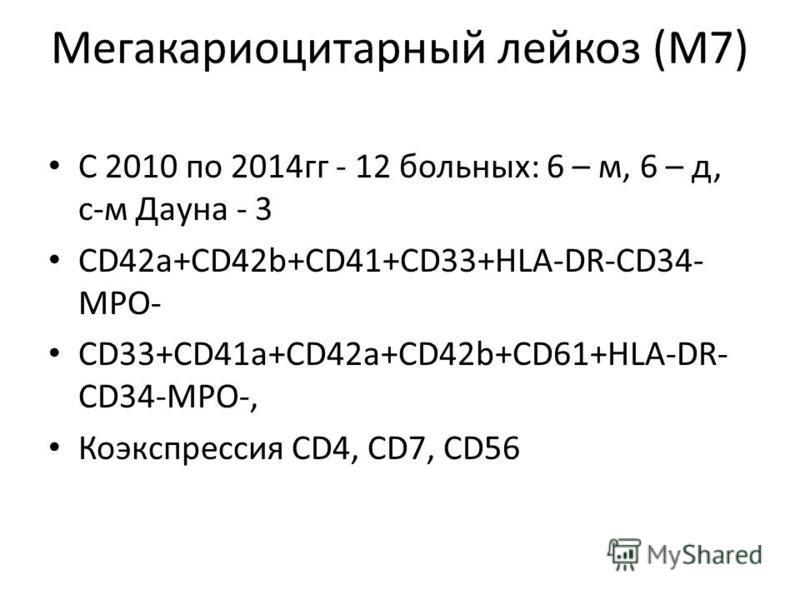 Мегакариоцитарный лейкоз (М7) С 2010 по 2014 гг - 12 больных: 6 – м, 6 – д, с-м Дауна - 3 CD42a+CD42b+CD41+CD33+HLA-DR-CD34- MPO- CD33+CD41a+CD42a+CD42b+CD61+HLA-DR- CD34-MPO-, Коэкспрессия CD4, CD7, CD56