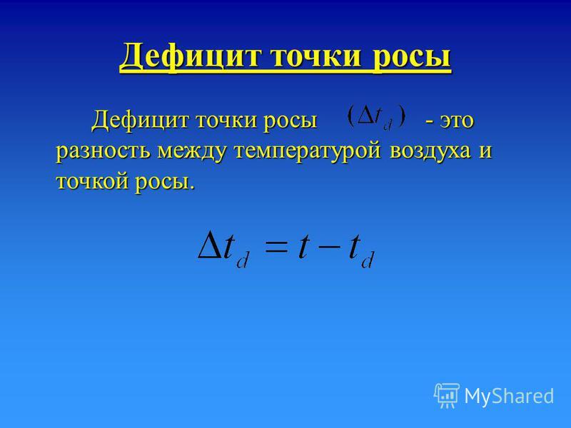 Дефицит точки росы Дефицит точки росы - это разность между температурой воздуха и точкой росы.