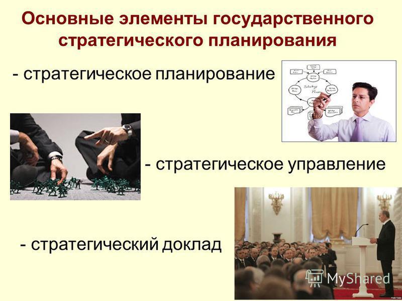Основные элементы государственного стратегического планирования - стратегическое планирование - стратегическое управление - стратегический доклад