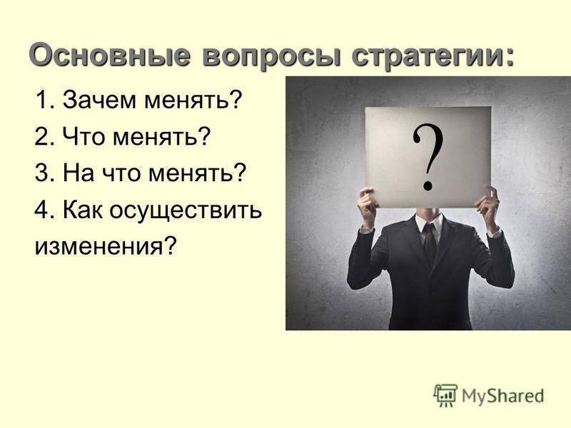 Основные вопросы стратегии: 1. Зачем менять? 2. Что менять? 3. На что менять? 4. Как осуществить изменения?