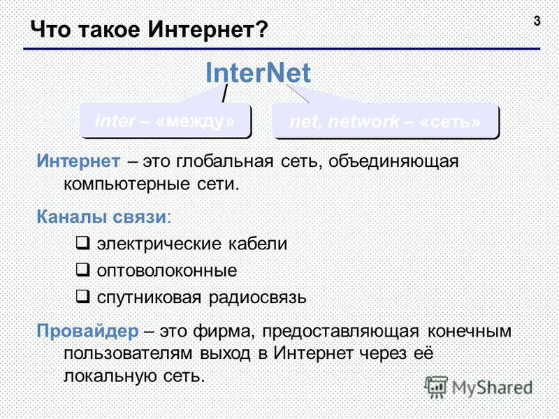 3 Что такое Интернет? InterNet inter – «между» net, network – «сеть» Интернет – это глобальная сеть, объединяющая компьютерные сети. Каналы связи: электрические кабели оптоволоконные спутниковая радиосвязь Провайдер – это фирма, предоставляющая конеч