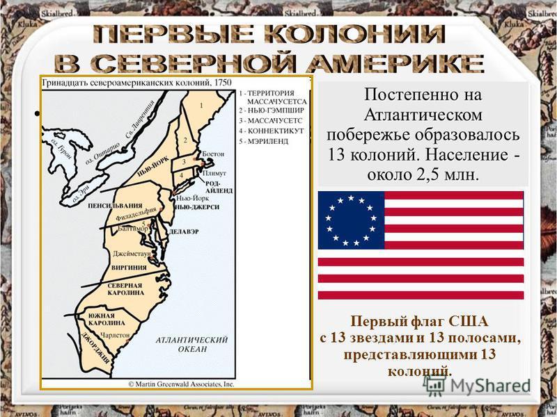 Первый флаг США с 13 звездами и 13 полосами, представляющими 13 колоний.флаг США Постепенно на Атлантическом побережье образовалось 13 колоний. Население - около 2,5 млн. Первый флаг США с 13 звездами и 13 полосами, представляющими 13 колоний.