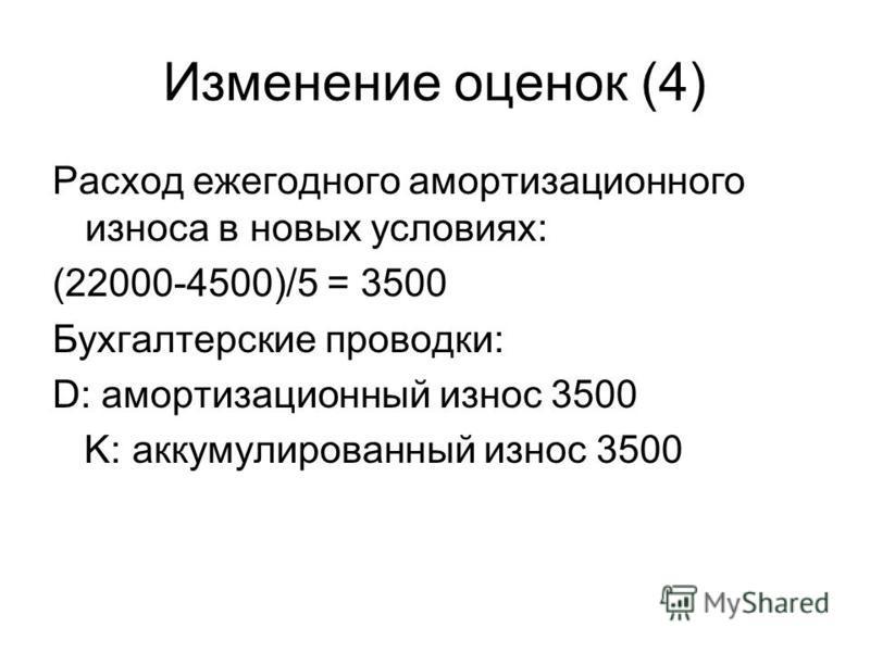 Изменение оценок (4) Расход ежегодного амортизационного износа в новых условиях: (22000-4500)/5 = 3500 Бухгалтерские проводки: D: амортизационный износ 3500 K: аккумулированный износ 3500