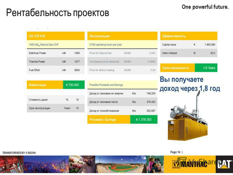 TRANSFORMED BY 6 SIGMA One powerful future. Page 14 | CATERPILLAR CONFIDENTIAL: YELLOW Рентабельность проектов