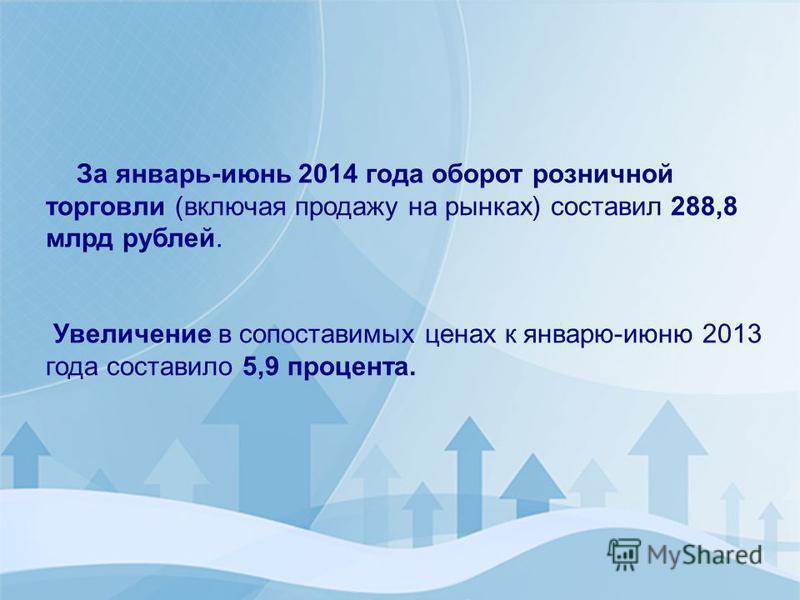 За январь-июнь 2014 года оборот розничной торговли (включая продажу на рынках) составил 288,8 млрд рублей. Увеличение в сопоставимых ценах к январю-июню 2013 года составило 5,9 процента.