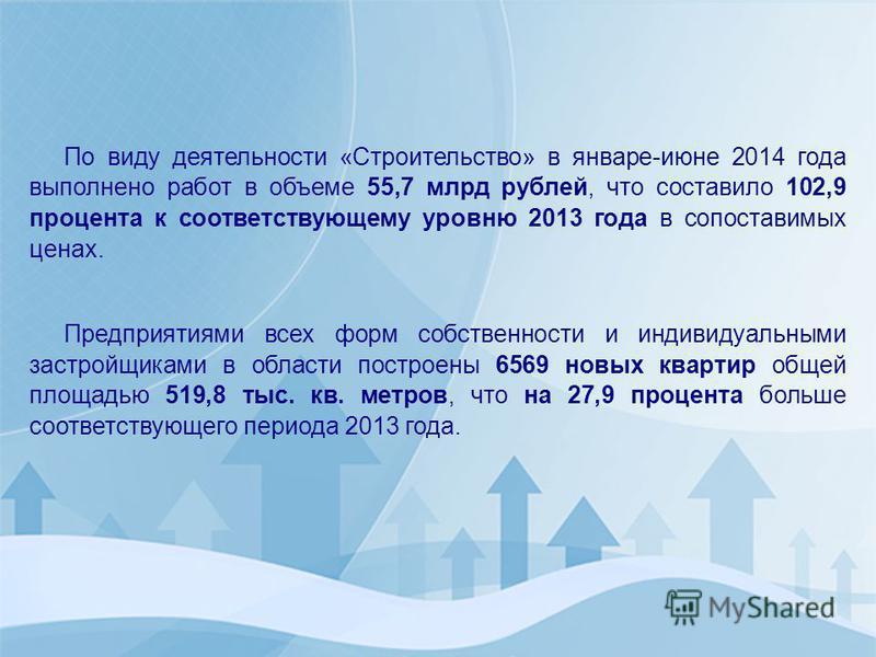 По виду деятельности «Строительство» в январе-июне 2014 года выполнено работ в объеме 55,7 млрд рублей, что составило 102,9 процента к соответствующему уровню 2013 года в сопоставимых ценах. Предприятиями всех форм собственности и индивидуальными зас