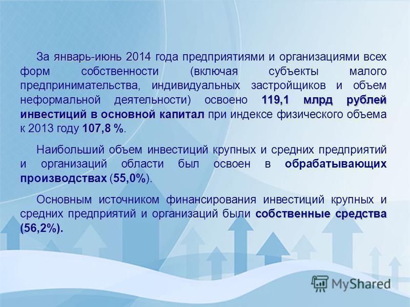 январь-июнь 2014 119,1 млрд рублей инвестиций в основной капитал 107,8 За январь-июнь 2014 года предприятиями и организациями всех форм собственности (включая субъекты малого предпринимательства, индивидуальных застройщиков и объем неформальной деяте