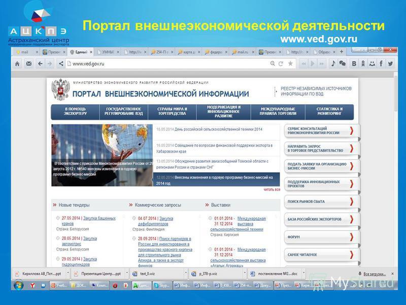 Портал внешнеэкономической деятельности www.ved.gov.ru