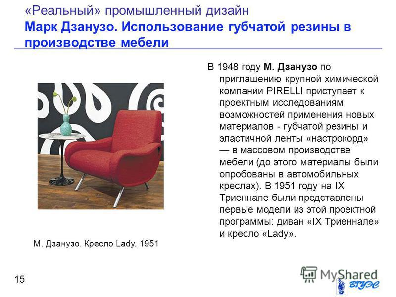 В 1948 году М. Дзанузо по приглашению крупной химической компании PIRELLI приступает к проектным исследованиям возможностей применения новых материалов - губчатой резины и эластичной ленты «настрокорд» в массовом производстве мебели (до этого материа