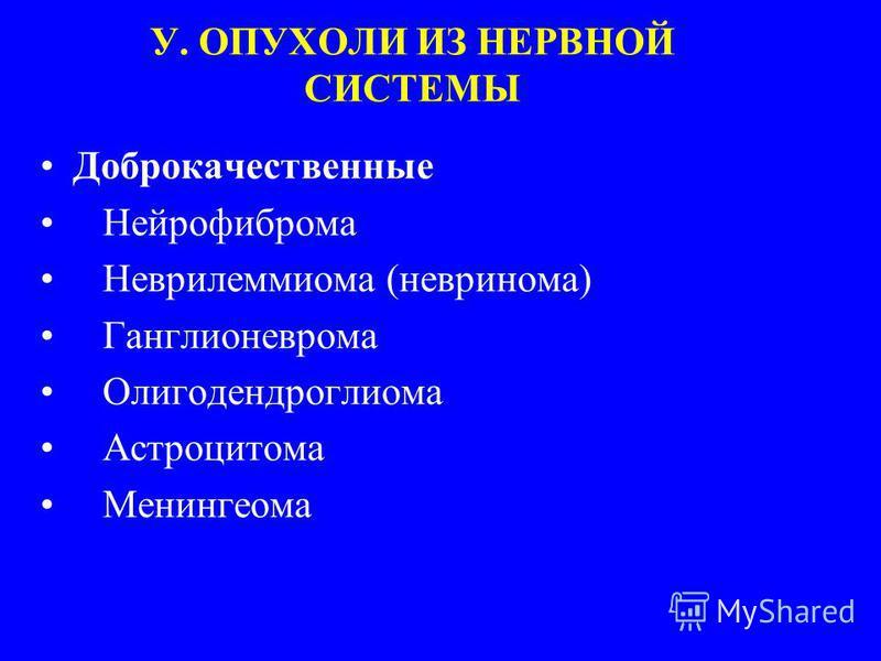 У. ОПУХОЛИ ИЗ НЕРВНОЙ СИСТЕМЫ Доброкачественные Нейрофиброма Неврилеммиома (невринома) Ганглионеврома Олигодендроглиома Астроцитома Менингеома