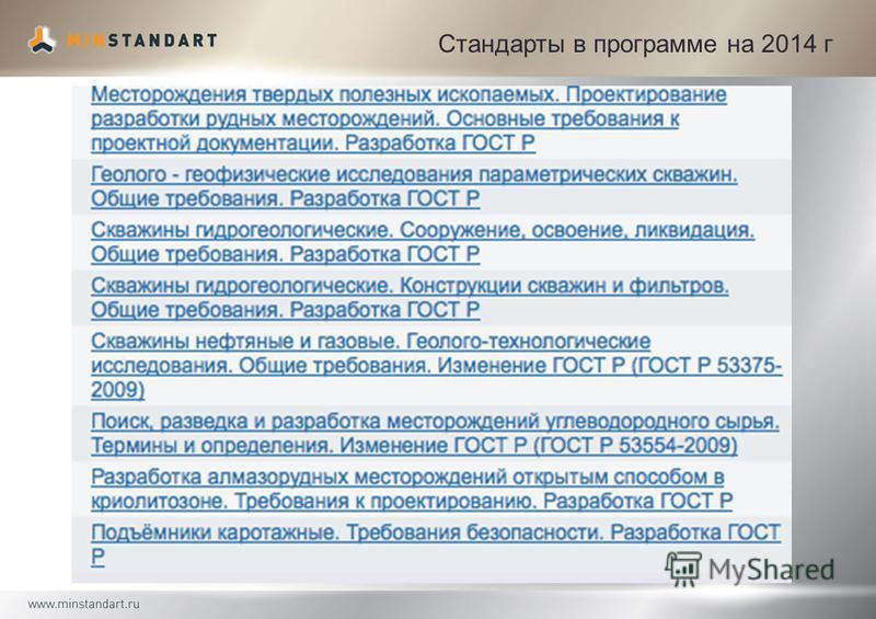 Стандарты в программе на 2014 г
