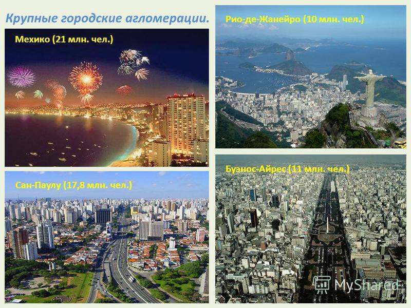Крупные городские агломерации. Мехико (21 млн. чел.) Рио-де-Жанейро (10 млн. чел.) Сан-Паулу (17,8 млн. чел.) Буэнос-Айрес (11 млн. чел.)