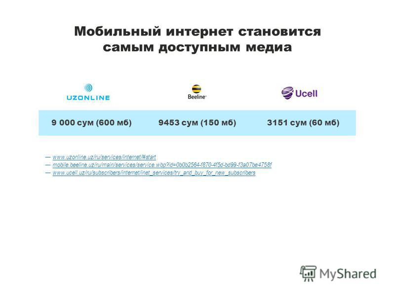 Мобильный интернет становится самым доступным медиа www.uzonline.uz/ru/services/internet/#start mobile.beeline.uz/ru/main/services/service.wbp?id=0b0b2564-f870-4f5d-bd99-f3a07be4758f www.ucell.uz/ru/subscribers/internet/inet_services/try_and_buy_for_