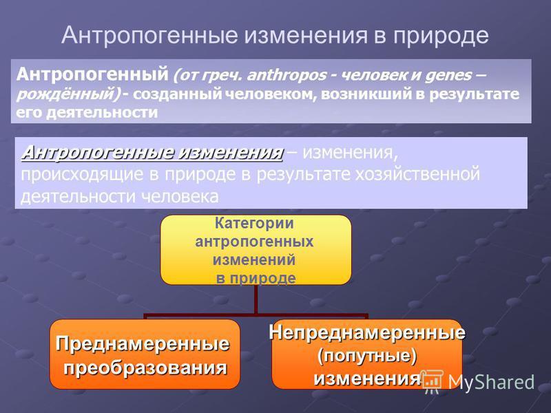 Антропогенные изменения в природе Категории антропогенных изменений в природе Преднамеренныепреобразования Непреднамеренные(попутные)изменения Антропогенные изменения Антропогенные изменения – изменения, происходящие в природе в результате хозяйствен