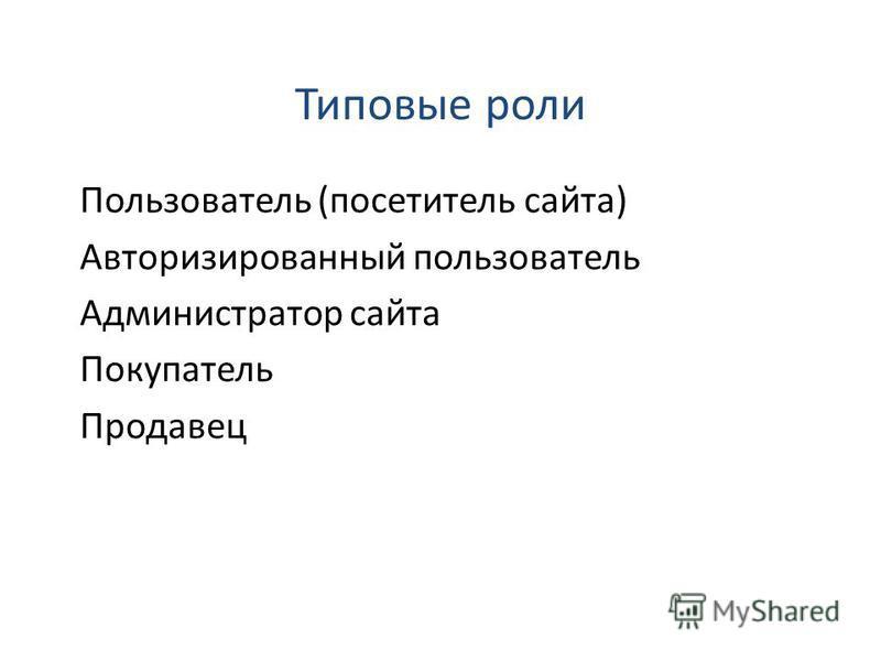 Пользователь (посетитель сайта) Авторизированный пользователь Администратор сайта Покупатель Продавец Типовые роли