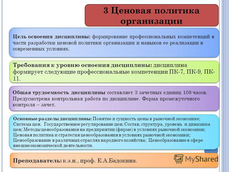 Основные разделы дисциплины: Понятие и сущность цены в рыночной экономике; Система цен. Государственное регулирование цен; Состав, структура, уровень и динамика цен; Методы ценообразования на предприятии (фирме) в условиях рыночной экономики; Ценовая