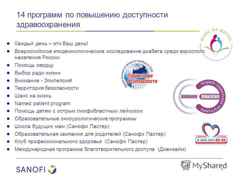 14 программ по повышению доступности здравоохранения | 2 Каждый день – это Ваш день! Всероссийское эпидемиологическое исследование диабета среди взрослого населения России Помощь сердцу Выбор ради жизни Внимание - Эпилепсия! Территория безопасности Ш